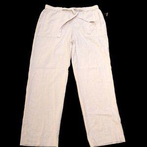 Rafaella Comfort Linen Blend Beige Pants NWT